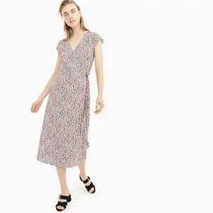 J.Crew Midi wrap dress soft rayon pink leopard